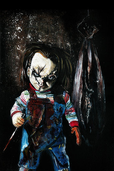 Chucky doll with knife and body bag front view