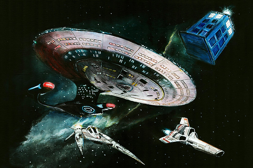 star trek, enterprise d, buck rogers starfighter, colonial viper, battlestar galactica, dr who, tardis