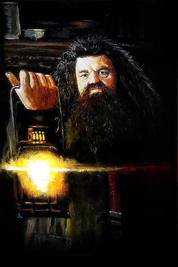 Hagrid from Harry Potter, holding lantern