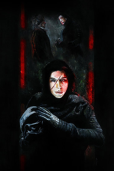 Kylo Ren holding Darth Vader's Mask thinking of Han Solo front view