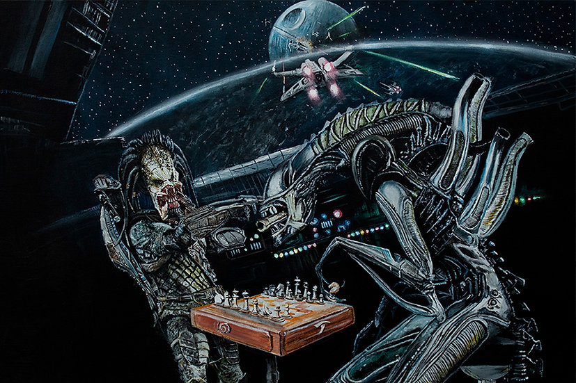 alien, predator, star wars, death star, chess, x wing