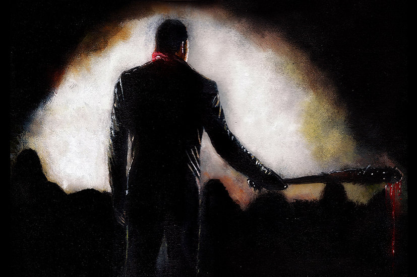 Jeffrey Dean Morgan as Negan with Lucille and prisoners back view