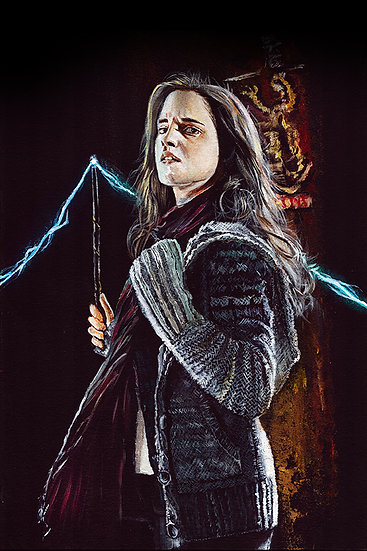 Emma Watson as Hermoine Granger, with wand