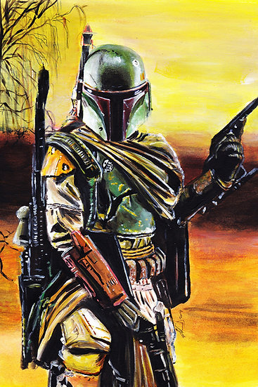 Boba Fett with sunset and trees front view