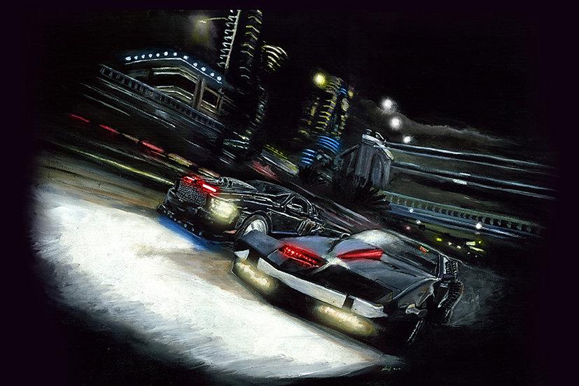 Super Pursuit Mode Pontiac KITT and Attack Mode Mustang KITT racing