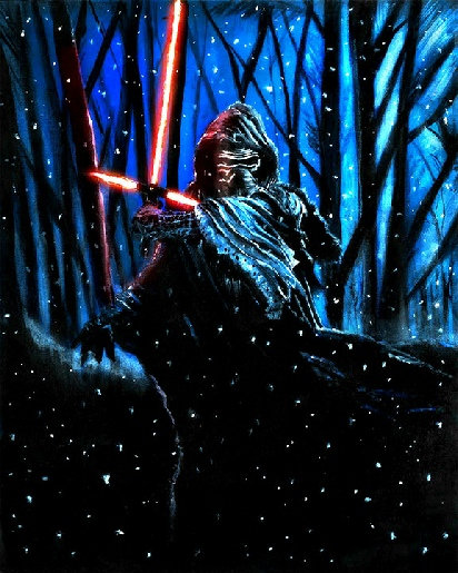 Kylo Ren with mask and lightsaber with trees and snow front view