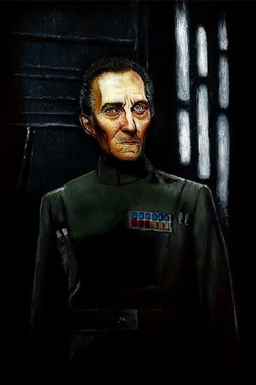 Peter Cushing as Grand Moff Tarkin on Death Star front view