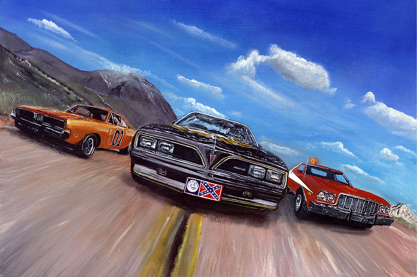 General Lee Bandit and Starsky and Hutch cars racing front view