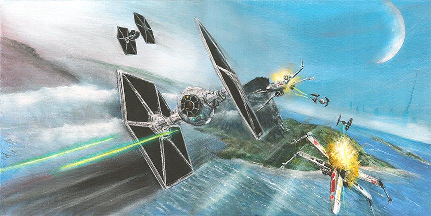 star wars, tie figters, x wing, burj khalifa, space battle