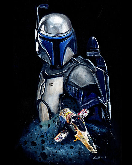 Jango Fett with Slave 1 front view