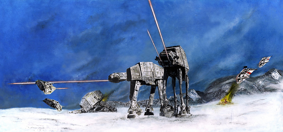Imperial AT-AT walkers shooting at snowspeeders on Hoth front and side view