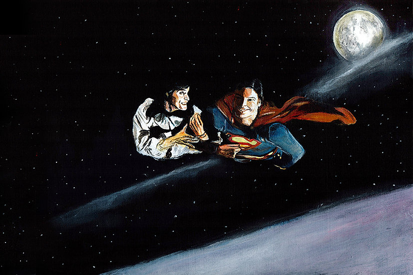 Superman Christopher Reeve and Margot Kidder Lois Lane flying front view