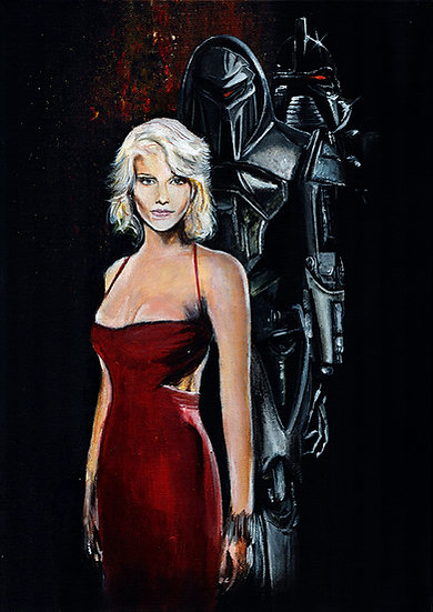 Tricia Helfer as Number 6 and Cylons from Battlestar Galactica