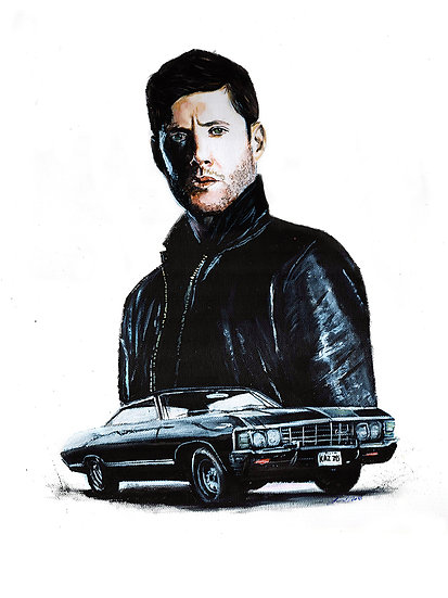 Jensen Ackles as Dean Winchester with Baby Impala front view