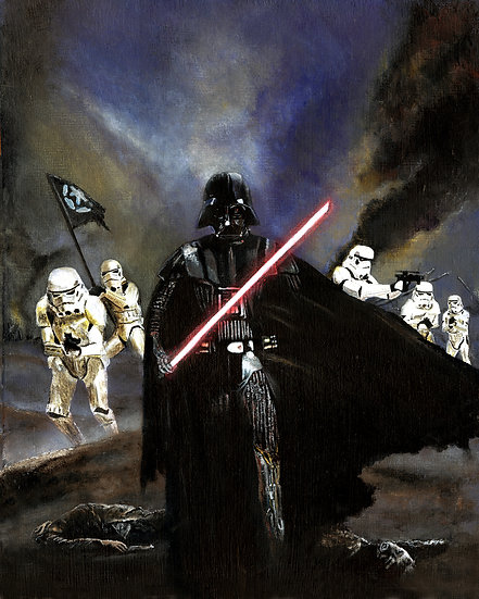 Darth Vader and stormtroopers in battle front view