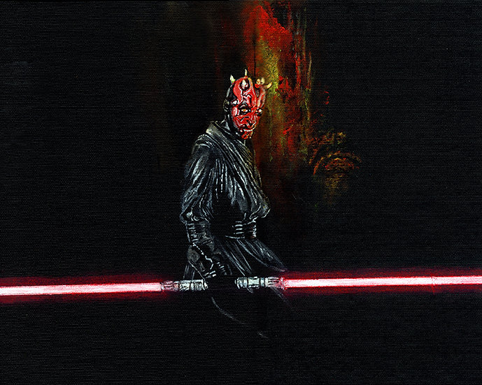 Darth Maul with lightsaber front view