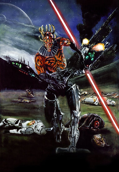 Cyborg Darth Maul with lightsaber in battle front view