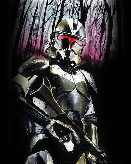 Black shadowtrooper with trees and red sky front view