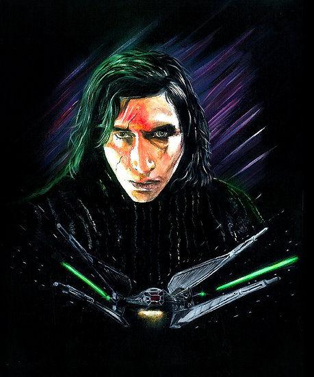 Kylo Ren with his TIE fighter front view