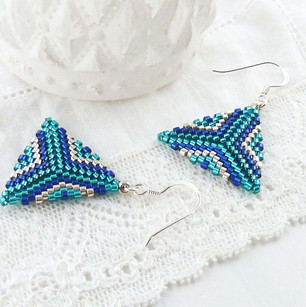 Blue and Turquoise Triangle Earrings