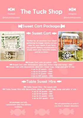 Sweet Cart Menu
