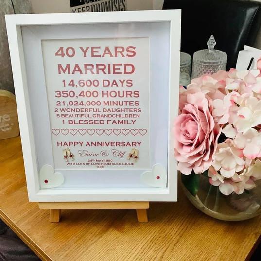Ruby wedding anniversary print