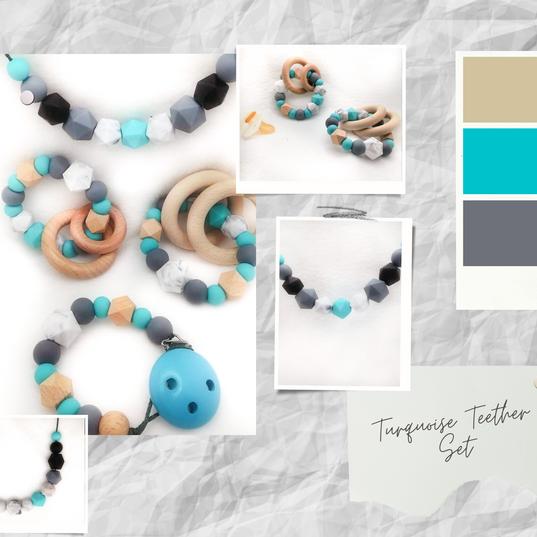 Turquoise Teether Set