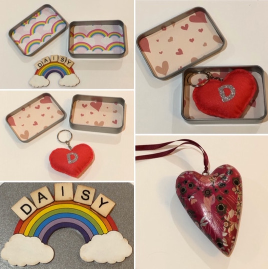 Hearts and rainbow tins