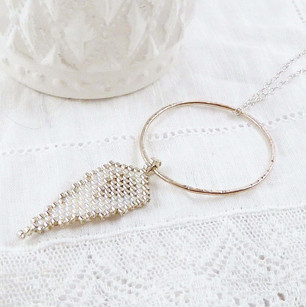 Long Circle and Angel Wing Necklace