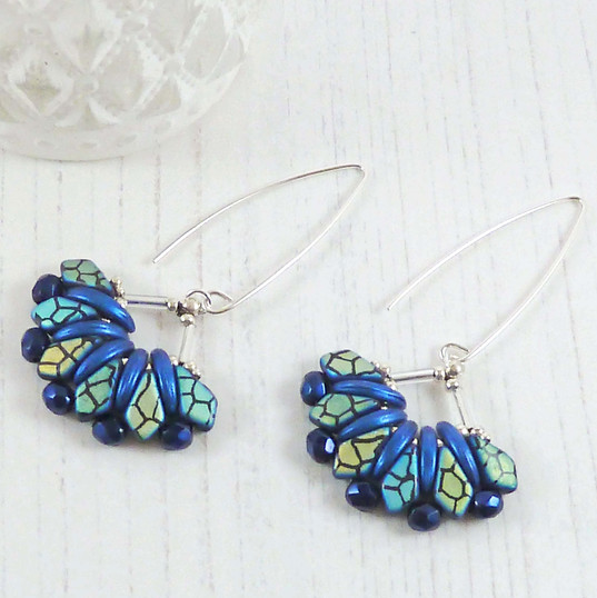 Long Blue Fan Earrings