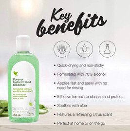 Key benefits of our aloe hand cleanser