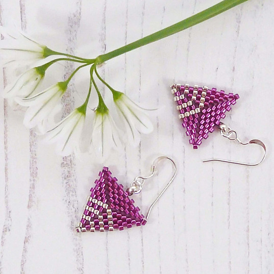 Deep Pink Triangle Earrings