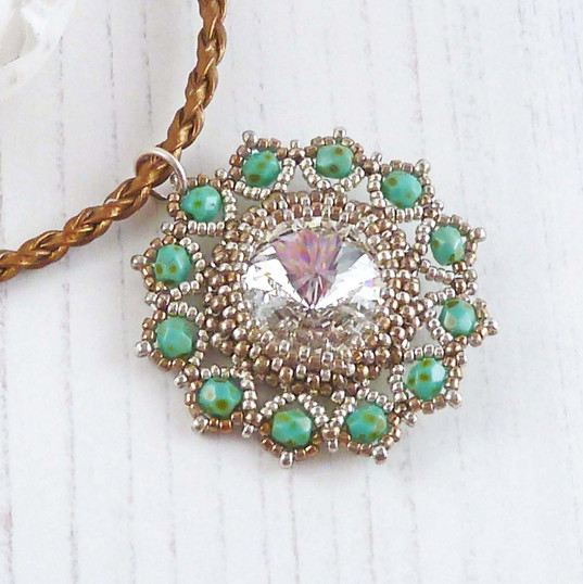 Crystal and Green Flower Necklace