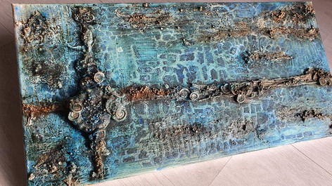 Blue Fossil Themed Canvas