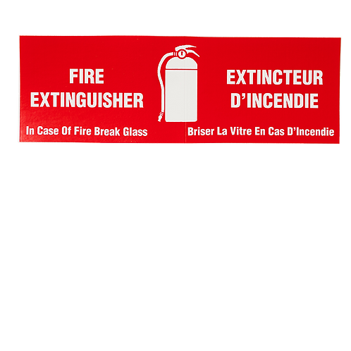 """Fire Extinguisher - In Case of Fire Break Glass"", 6"" x 2"", Bilingual"
