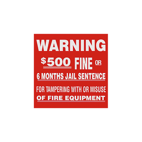"""Warning $500 Fine…Tampering or Misuse"" - Vinyl Sticker"