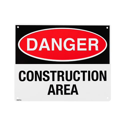 "Danger Construction Area 10"" x 8"" - Rigid Plastic"
