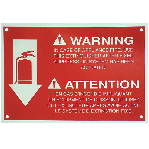 "K-Class Fire Extinguisher Arrow 8"" x 12""- Rigid Plastic Sign"