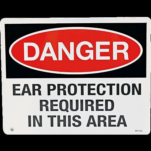 "Danger Ear Protection 10"" x 8"" - Rigid Plastic"