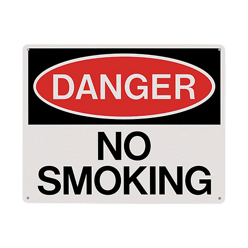 "DANGER No Smoking Sign 10"" x 8"" - Rigid Plastic"