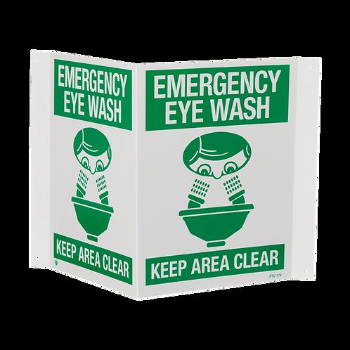 """""""Emergency Eye Wash…Keep Area Clear"""", 18"""" x 10"""""""