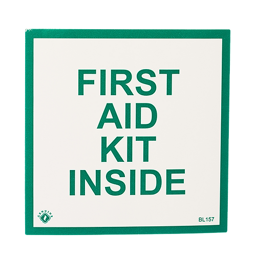 """First Aid Kit Inside"", 4"" x 4"""