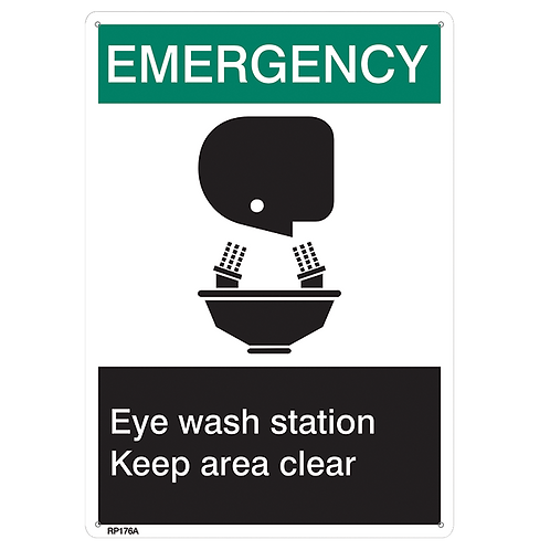 Rigid plastic Emergency Eye Wash Sign