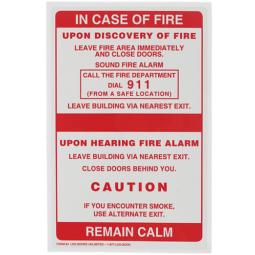 In Case of Fire Labels - Single Stage, No Elevator