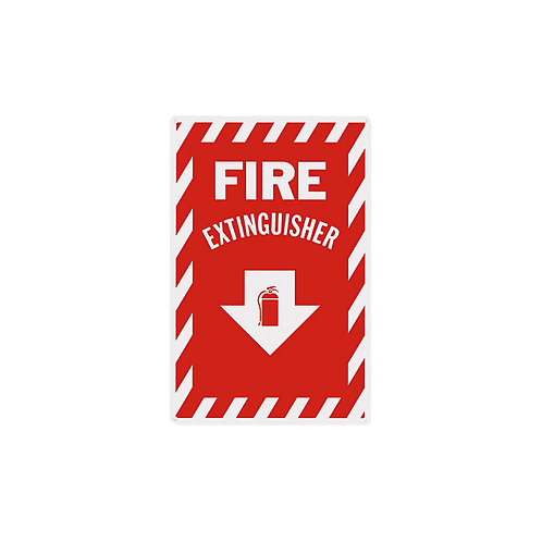 "Fire Extinguisher Arrow 8"" x 12""- Rigid Plastic Signs"