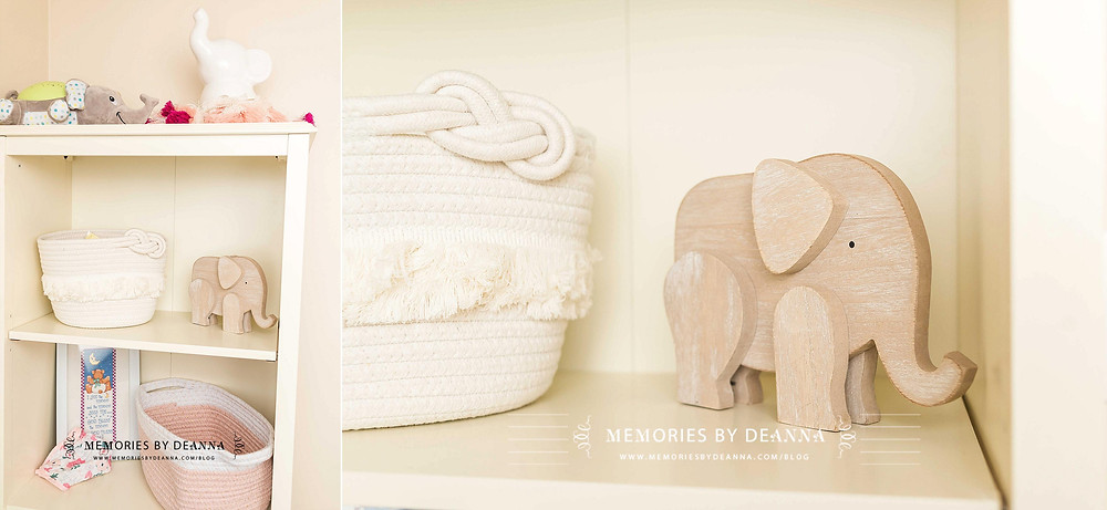 Elephant decorations are an element of this newborn baby girl nursery