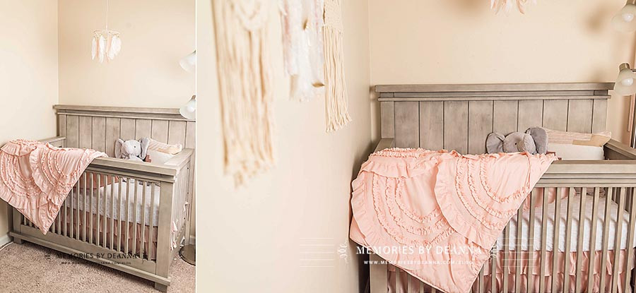 Feathers and macrame wall hangings surround this newborn baby girl crib