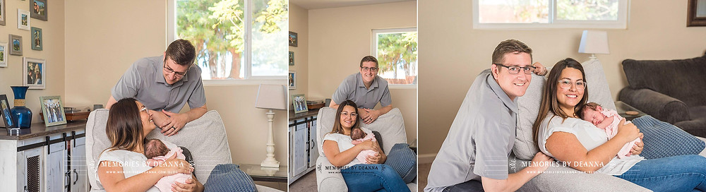 Family lifestyle newborn portraits in the living room