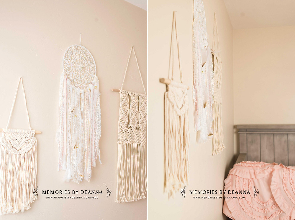 Macrame wall hangings are the perfect touch for this nursery