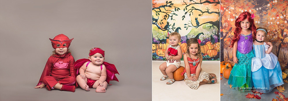 Halloween portraits, yearly growth photo montage